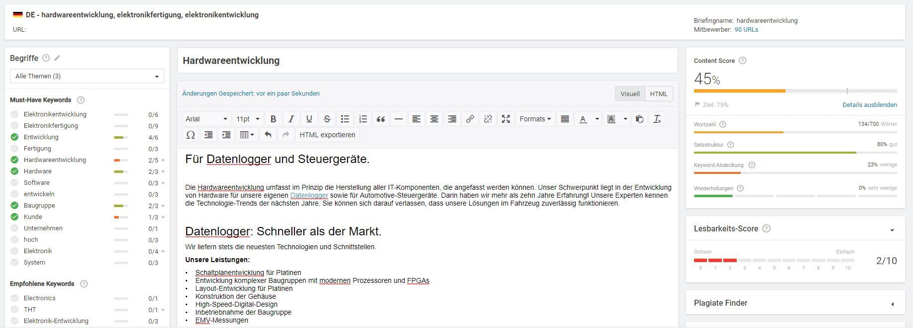 Searchmetrics: Content Editor