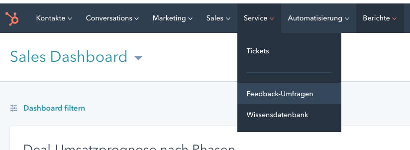 Auswahl von Feedback-Umfragen im Service Hub