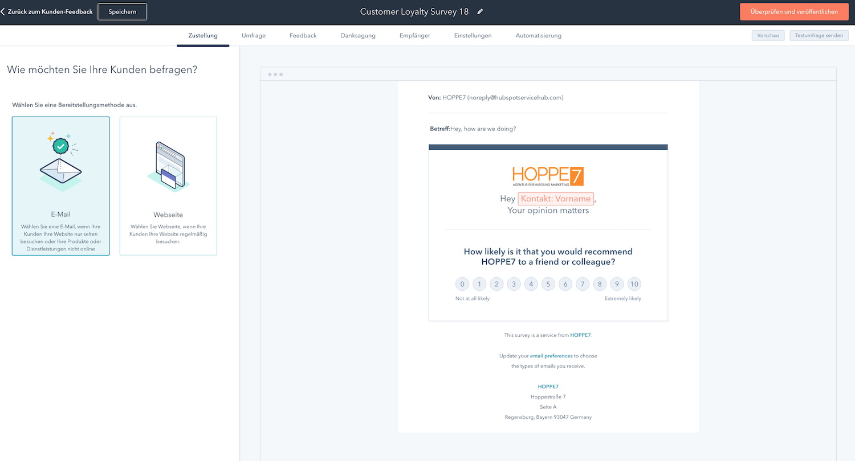 Im HubSpot Service Hub eine NPS-Umfrage per Mail erstellen