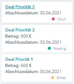 Deal Priorität HubSpot Product Update