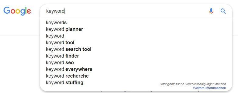 Longtails zum Suchbegriff Keyword