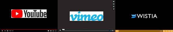 Player YouTube, Vimeo, Wistia