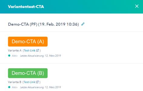 Variantentest CTA in HubSpot