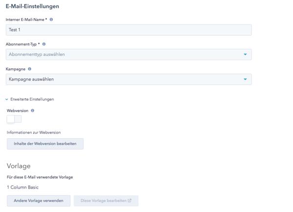 E-Mail Tool HubSpot Einstellungen