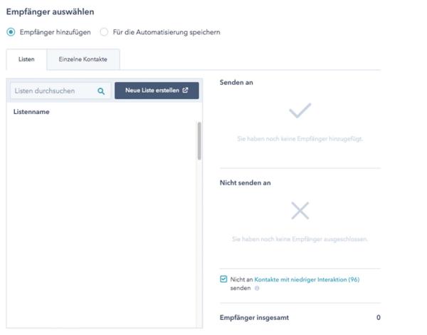 E-Mail Tool HubSpot Empfänger-1