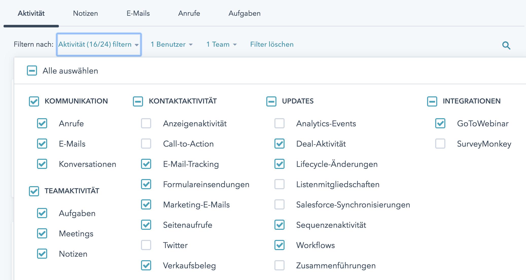 Filter und Suche in der HubSpot Datenbank