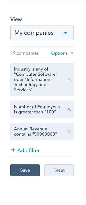 Filtermöglichkeiten HubSpot CRM: Unternehmen