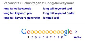 Google: Verwandte Suchanfragen