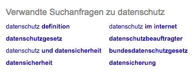 Screenshot: Verwandte Suchanfragen