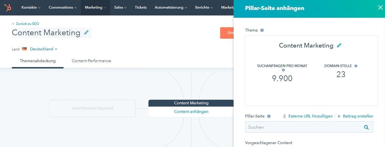 So funktoniert das SEO / Content Strategie Tool von HubSpot