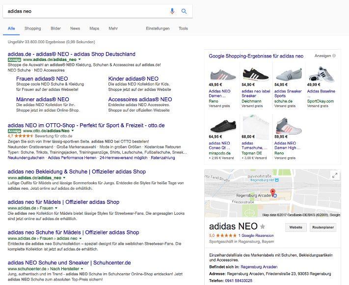 Beispiel für kommerzielle Suchanfrage. Adidas NEO