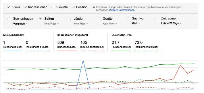 Search Console Suchanalyse: Screenshot Suchbegriffe vergleichen