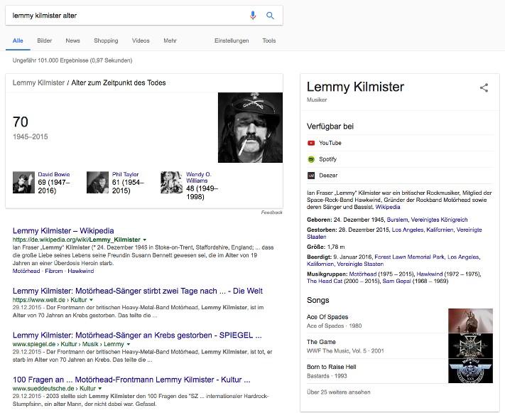 Beispiel für eine informationsgetriebene Suchanfrage - Lemmy kilmister