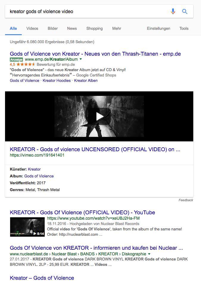 Beispiel für transaktionale Suchanfrage - Kreator Gods of Violence