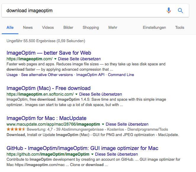 Beispiel für transkationale Suche: Download Imageoptim